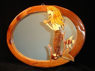 New Hand Carved Wood Art Intarsia Mermaid Wall Mirror Home Decor