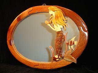 New Hand Carved Wood Art Intarsia Mermaid Wall Mirror Home Decor