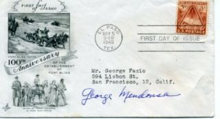 George Mendonsa Life V J Day Kissing Sailor Signed Autograph FDC