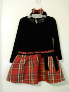 New NWOT Girls 4T Ellemenno Dress Christmas Red Plaid Taffeta Black
