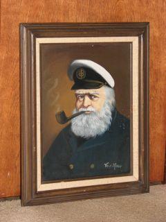 Van Meer Original Painting Signed 17 x 21 Sea Captain with Pipe