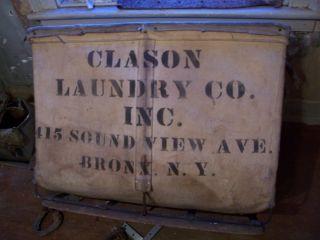Original Vintage Shamrock Meese Inc New York City Bronx Laundry Cart