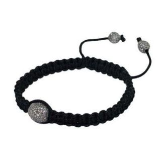 Diamond Bead Silver Black Thread Mens Bracelet Jewelry