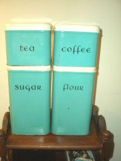 ANTIQUE TURQUOISE METAL 4 PIECE HARVELL CANISTER SET FLOUR TEA SUGAR