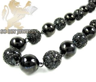 Mens Black 14k Gold Bead Ball Diamond Chain Necklace