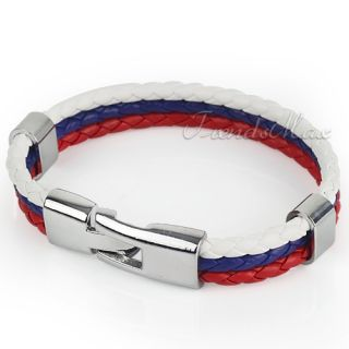 MENS White Blue Red Braid Rope Russia Flag Surfer Leather Bracelet