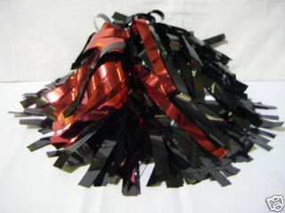W1403 Metallic Red and Black Cheer Poms