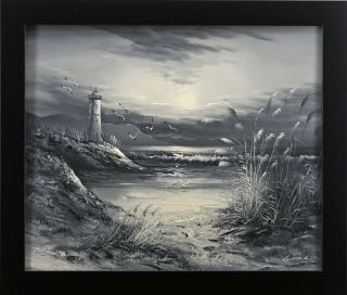 Seagulls Lighthouse Beach Ocean Sea Sand Black & White Art FRAMED OIL