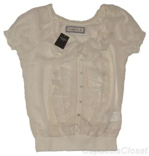 Abercrombie Womens Shirt MELINA Sheer Chiffon Blouse Lace Top Cream Sz