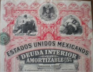 Estados Unidos Mexicanos deuda interior Letra E 1896 RED Lady Hot hot
