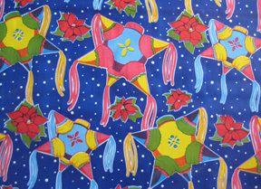 Pinatas & Poinsettia Mexican Oilcloth Fabric Christmas Feliz Navidad