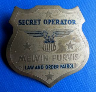 Melvin Purvis Secret Operator Toy Badge Law Order Patrol