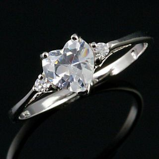 27ct Heart Shaped Cut Russian Ice on Fire CZ Promise Friendship Ring