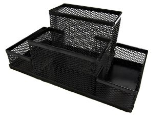 Black Mesh Desk Organizers 4 Compartments 8x4x4 Metal Desktop Pen