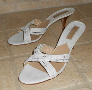 Michael Kors White Leather Slides w Stacked Wood Kitten Heels 7 5 B