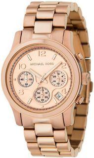 Michael Kors Womens Rose Gold Chronograph Watch MK5128