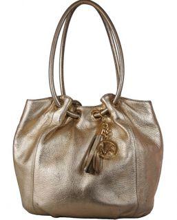 Michael Kors Metallic Gold Leather Ring Hobo Shoulder Bag Handbag