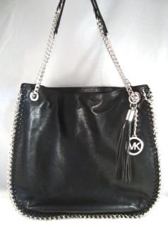 Michael Kors Black Leather Large Chelsea Chain Purse Shoulder Bag Tote