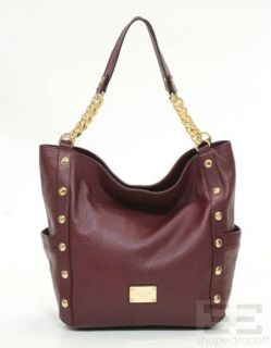 Michael Michael Kors Bordeaux Leather Large Shoulder Tote Bag New $498