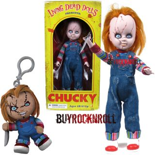 Mezco Living Dead Dolls 10 Childs Play Chucky Figure Mini Plush Clip