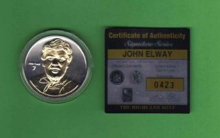 Highland Mint John Elway Signature Series Silver Coin