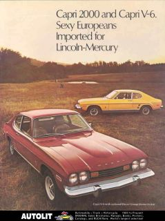 1973 Mercury Capri 2000 V6 Sales Brochure