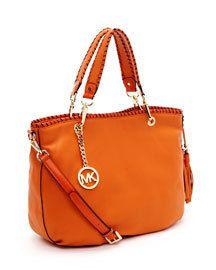 Michael Kors Bennet Medium Tote Leather Tangerine Handbag