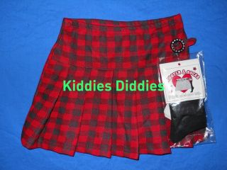 Beautees Girls Red and Black Plaid Skirt BT01