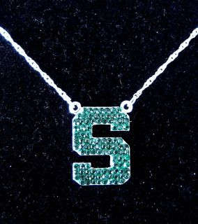 Michigan State University Spartans Green Crystal Necklace MSU