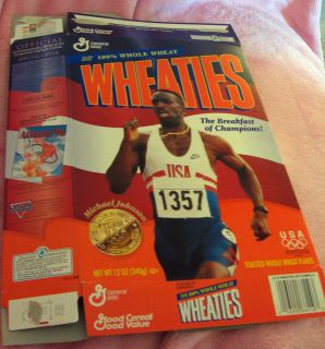 Wheaties Box 1996 Gold Medal Winner Michael Johnson w USA Lot 2