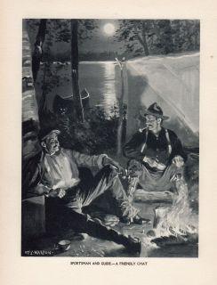 Original Antique Camping Print Canoe Full Moon Lake by HY Watson 1907