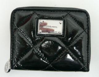 Michael Kors Black Hamilton Quilt Patent Leather Bifold Clutch Wallet