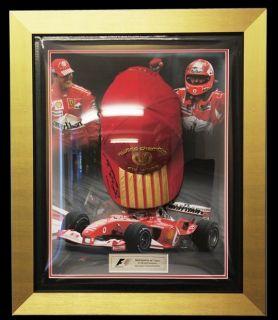 Michael Schumacher Ferrari F1 Signed Cap Framed Gold Ferrari F1 World