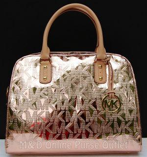 Michael Kors Monogram Logo Mirror Metallic Large Satchel Purse Bag