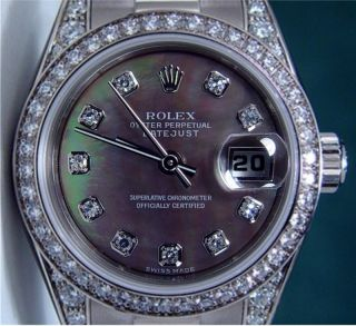 ROLEX Lady President 18k White Gold Black Mother of Pearl 179159 WATCH