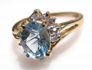 Estate Beautiful 1 5ct Natura Aquamarine Diamond Ring 10K Yellow Gold