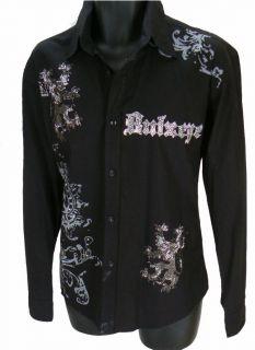 BULZEYE BLACK LABEL COUTURE Saints Sinners HandMade RHINESTONES Shirt