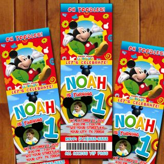 Mickey Mouse Clubhouse Custom Birthday Party Ticket Invitations