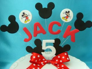 Red Mickey Mouse Birthday Cake Topper Any Name Age