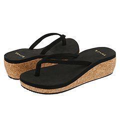 New Sanuk Impulse Black Cork Wedge Sandal Size 11 Flip Flop Platform
