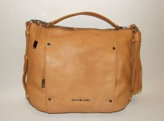 Michael Kors Bowen Shoulder Bag Hobo Handbag Purse Tan Embossed