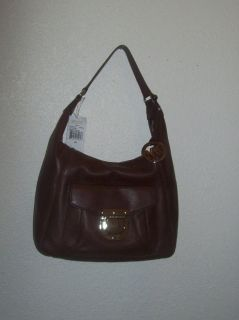 Michael Kors Riley Leather Shoulder Bag Hobo Mocha $378