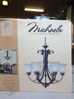 Michaela 6 Lighs Bronze Chandelier w Champagne Linen Glass on he ip
