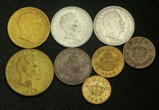 1939 1947 Romania Mihai I 50 Bani 1 2 5 500 2000 10 000 Lei 8pcs