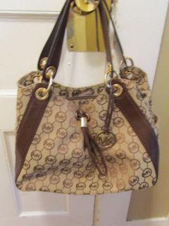 Michael Kors Ludlow Handbag Beige MK Signature Pattern w Brown Leather
