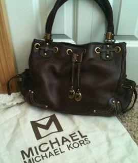 Michael Kors Dark Brown Leather Handbag Purse w Dust Bag