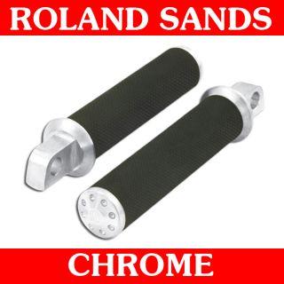 Roland Sands Design Chrome Tracker Foot Pegs 45deg for Harley