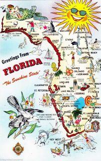 1957 Greetings from Florida Cartoon State Map Unused Mid Century