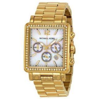 NWT Michael Kors Hudson Mid Chronograph Gold tone Ladies Watch MK5570