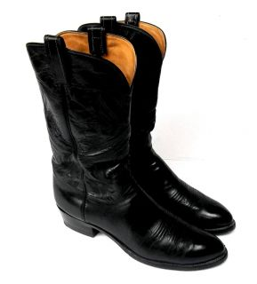 Pair of Mens Custom Black Leather Mingo Cowboy Western Boots 11 Made